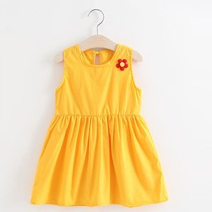 Clearance Excelent New Summer Dress Mesh Girls Toddler Kids Baby Girl Solid Flower Casual Princess Party Dress Sundress Clothes Z0205