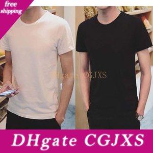 New Blank Solid Color Crew Neck T Shirt Mens черный и белый хлопок T -футболки Summer Tee Boy Tops тенниски