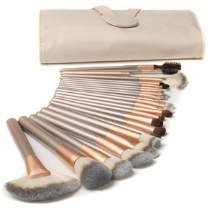 Hot 24 PCS Wood Makeup Brushes Champagne Gold The fan brush Makeup Tools DHL Free Shipping