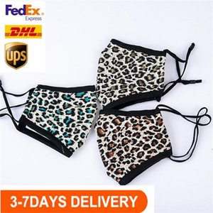 US Stock, Women Leopard Designer Masks Face Breathable Mouth Mask Outdoor Sports Cycling Masks Anti Dust Cotton Cloth Mouth Cover FY0071