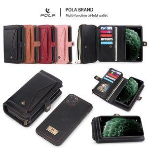 Cassa del raccoglitore del cuoio di vibrazione Top Quality PU tri-fold con slot per schede per Iphone della borsa Samsung