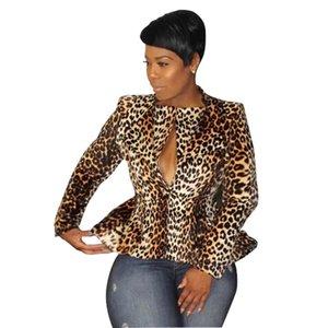 Leopard Mulheres paletó botão Sexy Magro única demão Casacos Casual Jacket Mulheres Winter manga comprida V Neck