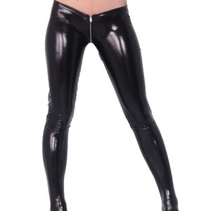 Sexy Latex PVC Glossy Tight Pants Zipper open Crotch Low Waist Skinny Tights Women Stage Clothing Club Costumes 0927