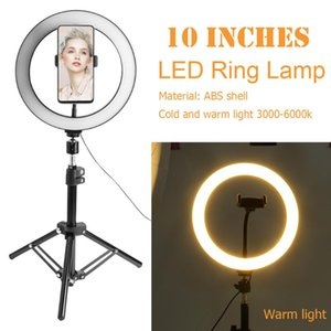 10 inch LED Selfie Ring Light Lamp Dimmable Stepless Photo Lighting Video Lamp For Makeup Video Live with Tripod Phone Holder