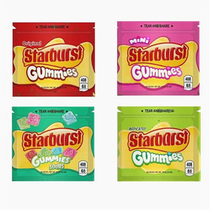 Starburst Gummies Mylar Bag 408 mg vazio Edibles Package Zipper Bolsa de armazenamento para a seco Herb Tabaco Flor Retail Packaging
