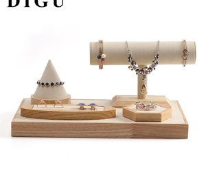 Дисплей ювелирных Реквизит ожерелье ювелирных изделий Wood Show опорное кольцо Браслет Подвеска Jade Show Поддержка дисплея Display11