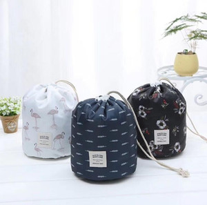 Toiletry Bags Function Travel Drawstring Cosmetic Bag Lady Color Cylinder Cosmetic Bags Waterproof Large Capacity Storage Bag AAB1998