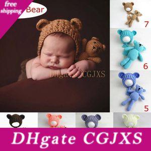 إنس 100٪ القطن الطفل التصوير الفوتوغرافي الدعائم القبعات والدب لعب مجموعة الحياكة اليدوية الوليد الصورة الدعامة الدب الصغير القبعة قبعات 7colors اختر