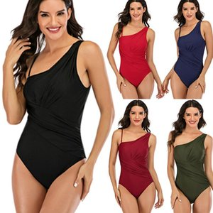 Women's Sexy One-Piece Solid Bikini One Shoulder Low Waist Swimwear Swimsuit Formal High Quality Beachwear Bikini Set X0324