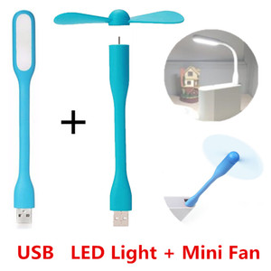 Criativo USB Fan flexível portátil Mini Fan e USB LED Light Lamp Xiaomi Livro Para Power Bank Notebook Computer Verão Gadget