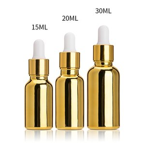 30ml Gold Glass Bottle Electroplated 15ml UV Dropper Glass Bottle 20ml Essential Oil Bottle Separately Filled Oil Blending Bottles