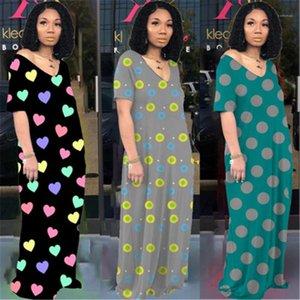 Manica corta Trend V Neck sciolti Dress Designer femminile Boemia casuale Pocket Gonna lunga donne dell'onda del puntino di stampa Fashion Dress
