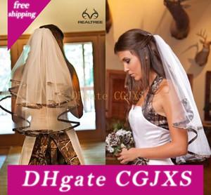 Elegante Comprimento Camo Curto Bridal Veils Elbow Camo Fita de Borda do casamento véus de cabelo Pieces Para Noivas Custom Made