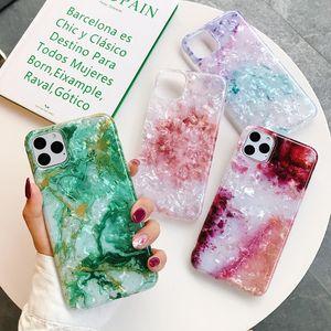 Telefon-Kasten für iPhone 11 Pro Max XR XS Max 7 8 Plus Traum Conch Glossy Marble weiche IMD Full Body Cover-Rückseite