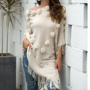 Women O Neck Solid Hairball Tassel Cloak Loose Shawl clothing Sweater sweter mujer invierno 2020 chamarras de mujer christmas