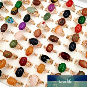 Newest 30 Pieces lot Natural gemStone Rings crystal Bohemia Mix Style Rose Gold Designs for Women's and Men fashion party charm Jewelry Gift