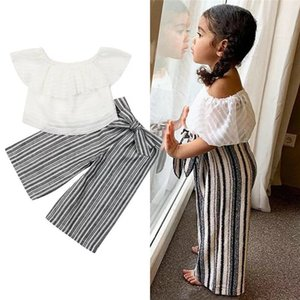 2020 Children's Collar Stand Collar Top + Striped Pants Girls Embroidered Top and Gauze Skirt Set Polka Dot T-Shirt Set