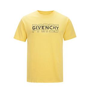 20SS Signature T-shirt Paris l'Europe Broderie Imprimer Lettre Mode Homme T-shirts Casual Hommes Femmes Vêtements Coton T Hauts FG9571 vv