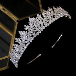 럭셔리 큐빅 지르코니아 떨어지는 모자 신부 크리스탈 크라운 웨딩 헤어 액세서리 미용 졸업 크라운 신부 왕관 Y200807