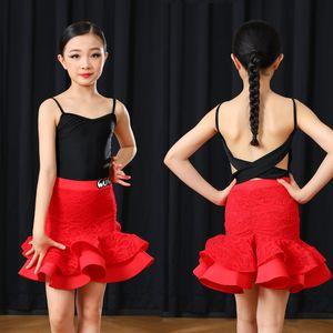 Backless Latin Ballroom Dance Kostüm für Mädchen-Spitze Latino Dance-Rock-Satz Tango Wear Salsa Rumba Outfits JL1357