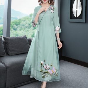 Tgyvy iNaVI ethnic modified heavy industry embroidery suit A- LINE DRESS Embroidered Tang Hanfu Zen suit A- line dress Chinese style Tang Ten