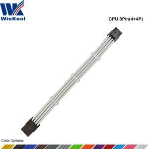 WinKool ATX EPS CPU 8PIN da donna a uomo 4 + 4 pin 18 AWG PSU maniche prolunga del cavo di alimentazione / Cavo con Bianco Nero Guaine