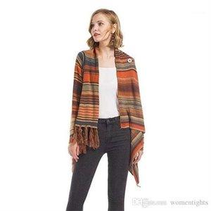 Новое дизайнер Вязание пальто зима Полосатый свитер кисточка с помощью кнопки Кардигана Coat длинного рукава свитера Womens