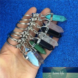 Chakra Hexagon Prism Natural Stone Keychain Key Ring Handbag Hangs Fashion Jewelry Gift Drop Ship 340041