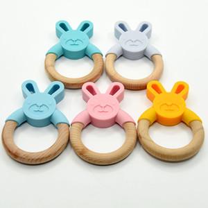 8 цветов Банни Силиконовые Teether Вуд Зубные кольца Детские жевательные игрушки Organic Wood кольцо Food Grade Silicone пустышек младенческой Подарки M2844