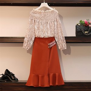 Plus size casual office two-piece suit sexy one-neck long-sleeved lace shirt and high-waist mermaid skirt two-piece set cloth