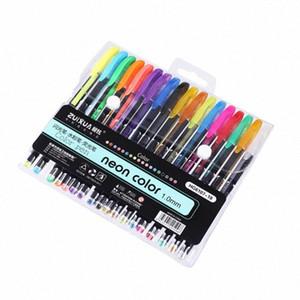 18 Colors Gel Pens Set Glitter Fluorescence Pen for Adult Coloring Books Journals Drawing Doodling Art Markers J5o2#