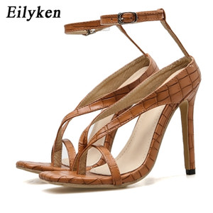 Eilyken New Crocodile Leather Narrow Band Women Summer Gladiator Sandals Ankle Buckle Strap Square Peep Toe Slides Shoes 2020 0925