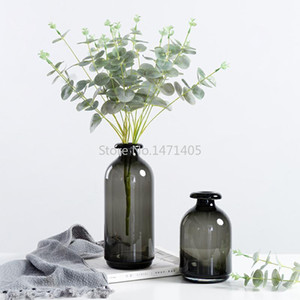 Simple glass vase Nordic style retro smoked dark vase decoration living room tabletop decoration glass flower for home