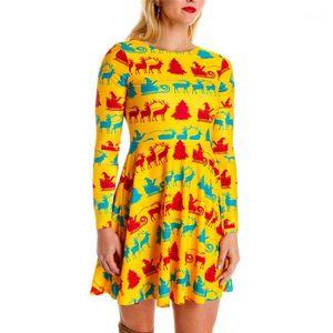 Patchwork Dresses Casual Long Sleeve O Neck High Waist Dress Womens Designer Clothes Fashion Christmas Theme