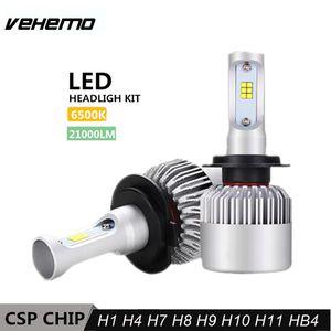 Vehemo 2PCS S2 Car Headlight Bulbs LED H1 H7 H11 9006 12V 210W 6500K 21000LM Lamp H4 9003 2 Auto Bulb Light