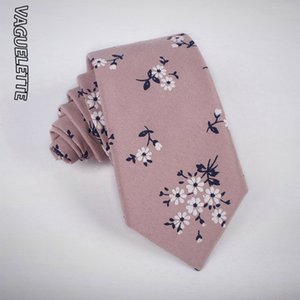 VAGUELETTE Floral Pattern Women Ties For Men Handmade Knitted Necktie Flower Printed Tie Slim Cotton 7 CM Wedding Wear