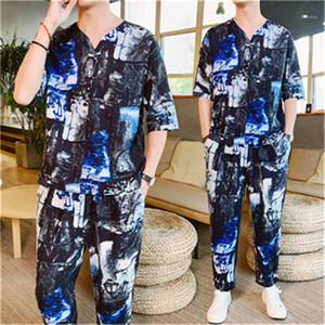 2pcs Survêtements style chinois mode Ensembles Casual Pantalons courtes T-shirt camouflage d'été de costume Tang ethnique Retro Designer Hommes