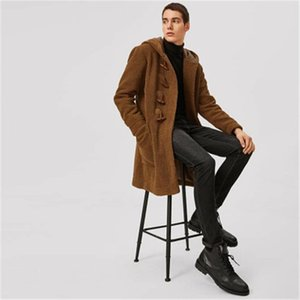 Man Double Sided Fleece Coats Fashion Trend Long Sleeve Casual Horn Button Outerwear Jacket Designer Male Hooded Casual Plush Coat
