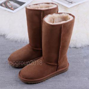 Mujeres Botas Australia Clásico botas de nieve Hombres del tobillo arco corto Piel La mitad de los botines de invierno castaño bota zapatillas de deporte de los calzados informales sobre la rodilla