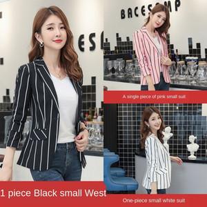 w13NE HvsBU xadrez root root 2019 outono internet populares coreano terno listrado terno preto e casaco de lótus casaco de amido de-rosa das mulheres dos Lotus mulheres