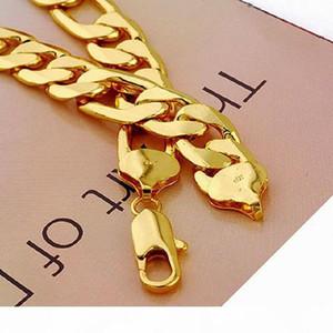 12mm Wide 24K Real Yellow Solid Gold GF Mens Ожерелье 24inch Снаряженная цепи ювелирные изделия Бесплатная доставка