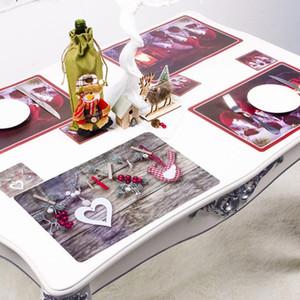12Pcs Tabella di Natale Mat Kitchen Decoration Placemat Babbo Natale tovagliolo Per Wedding Dining Accessori Mat