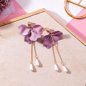 MENGJIQIAO 2020 New coreano monili d'avanguardia viola fiore del petalo lungo Pendientes Moda perla simulata nappa orecchini per le donne