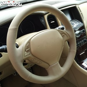 Hand-stitched Beige Leather Steering Wheel Cover for Infiniti QX50 G25 G35 G37 EX25 EX35 EX37 2008-2013