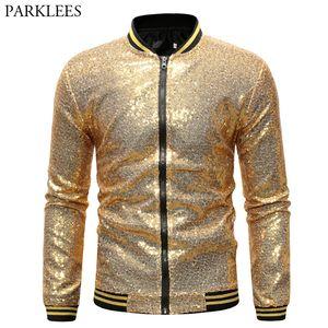 Vestes sequin Hommes or brillant et Coats 2020 Marque New Paillettes Baseball Jacket Men Club de DJ scène Chanteur Veste Homme XXL Veste