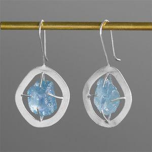 INature argento 925 gioielli blu acquamarina orecchini di goccia per le donne 200923