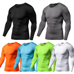 Neue Ankunft Quick Dry Compression-Shirt mit langen Ärmeln Trainings T-Shirt Sommer-Fitness Kleidung Solid Color Bodybuild Gym Crossfit