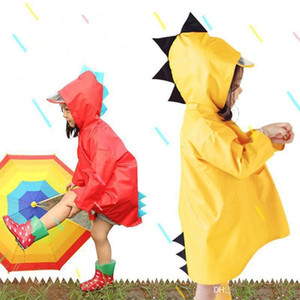 Portable Boys Girls Windproof Waterproof Wearable Poncho Kids Cute Dinosaur Shaped Hooded Children Yellow Red Raincoats