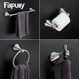 Ropa del sostenedor de tren de accesorios de papel de hardware plataforma de baño cepillado Hook Set de baño Accesorios Fapully 4pcs sostenedor de la toalla gancho DRzQC