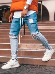 Hommes Gradient Couleur Ripped Jeans Casual Sport Joggers Jeans Hommes Biker Slim Motor Hip Hop Zipper Jeans Denim Pantalons